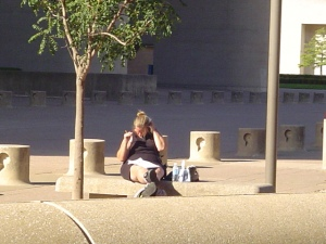 Homeless woman in downtown Dallas